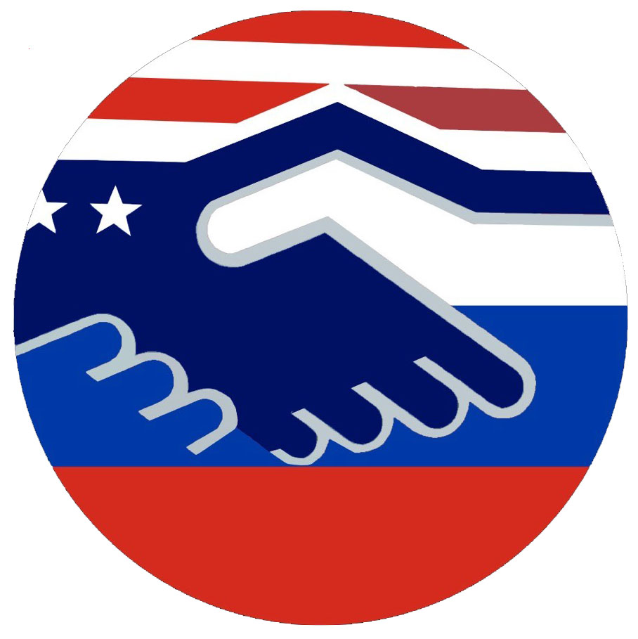 graphic of shaking hands decorated with the US and Russian flags