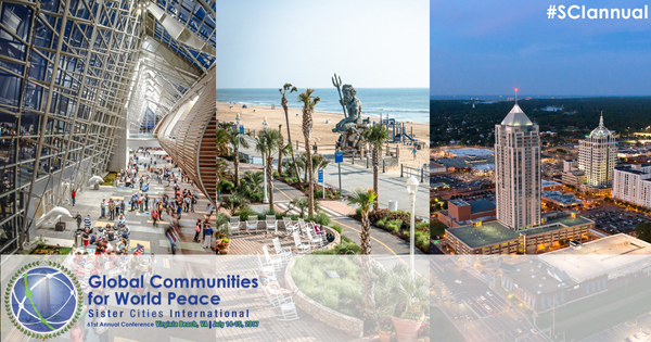 Images from around Virginia Beach with the  Sister Cities Conference logo on top