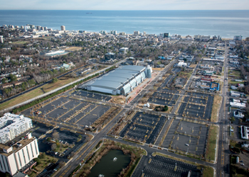 aerial view of convention center and surrounding area