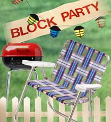 lawn chair, grill, and block party sign