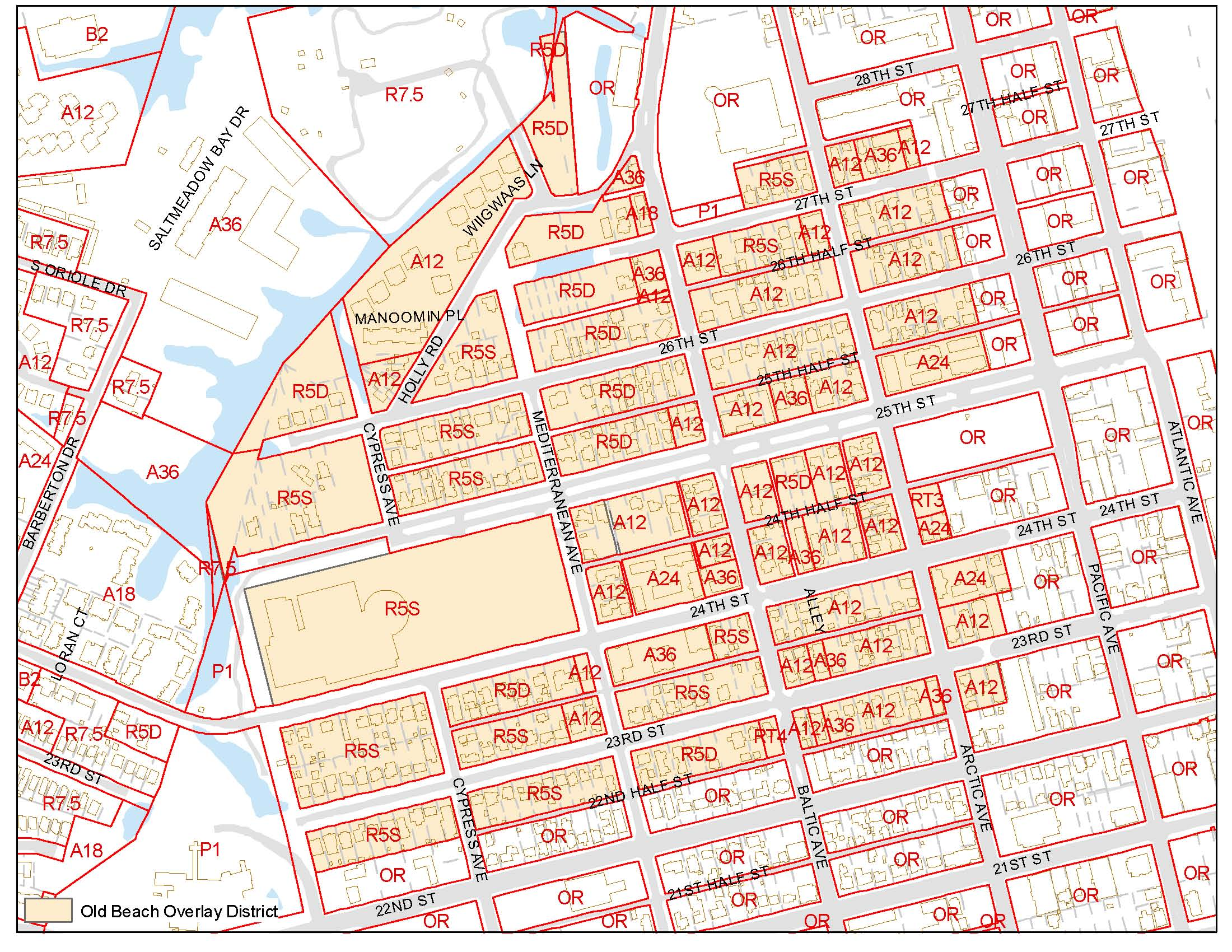 Old Beach Overlay District Zoning Map