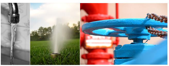 Tap water flows from faucets, sprinklers, and fire hydrants.