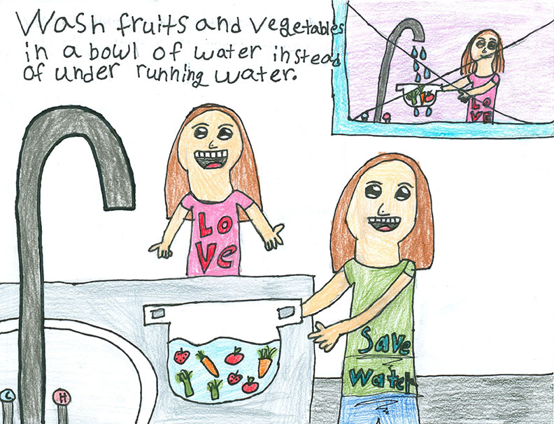Child's Drawing - Save water dudes