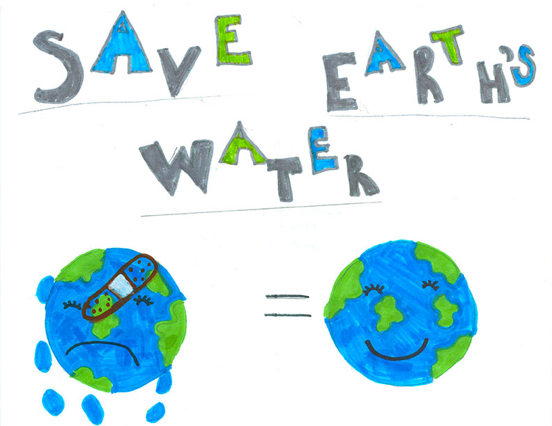 Child's Drawing - Save water in the bathroom