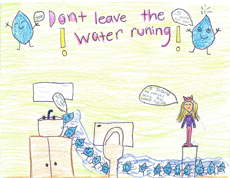 Child's Drawing - Save water