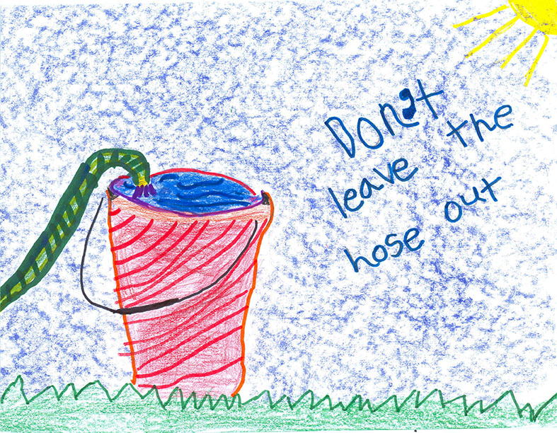 Child's Drawing - Turn the water off when brushing your teeth