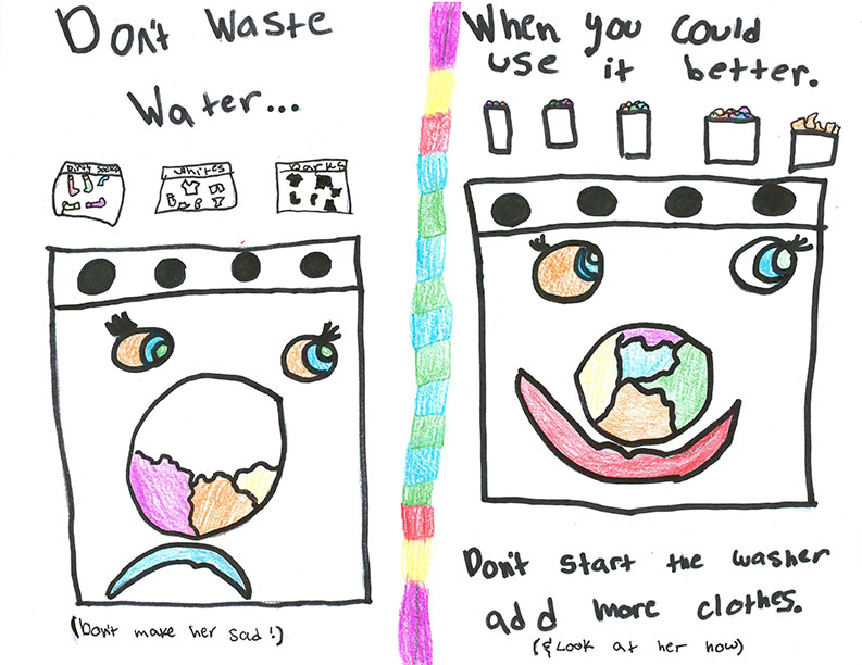 Child's  drawing - Wash full loads of laundry