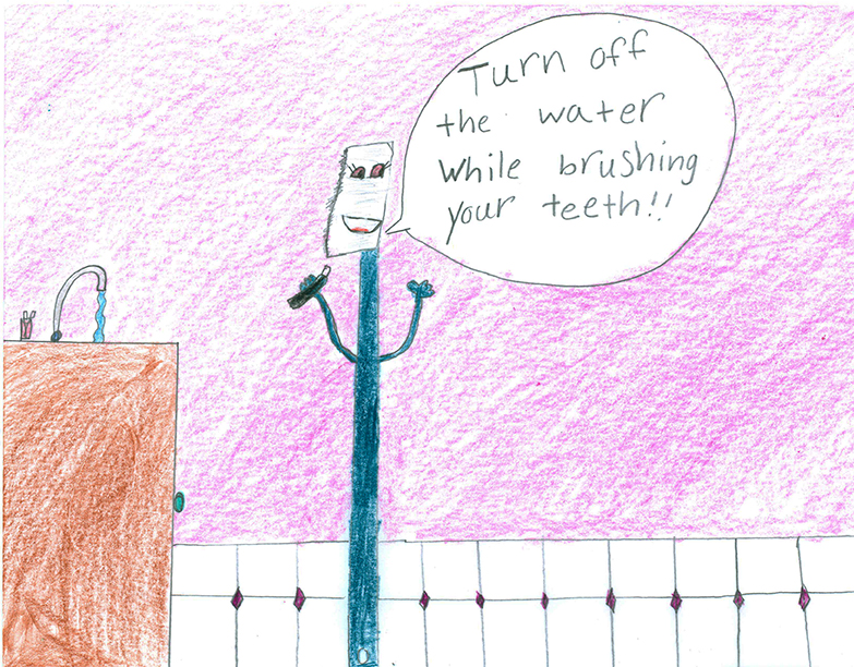 Child's Drawing - Don't let the hose drip