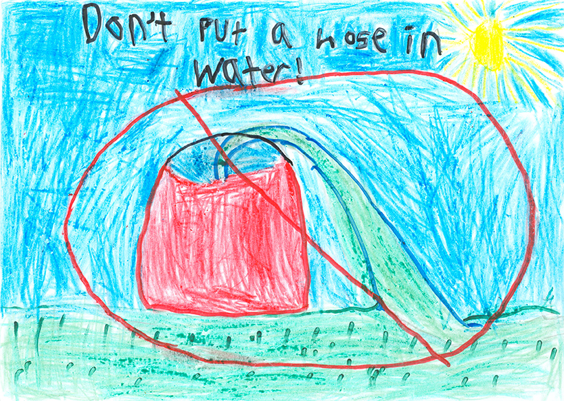 Child's Drawing - Don't waste water
