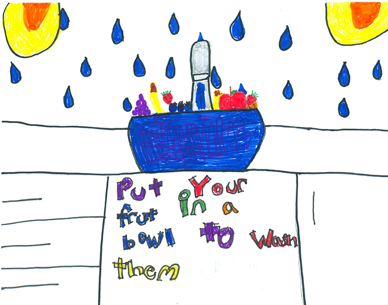 Child's Drawing - Save water outside