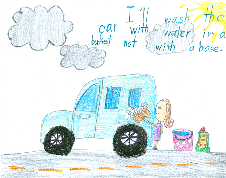 Child's Drawing - Don't let the water run