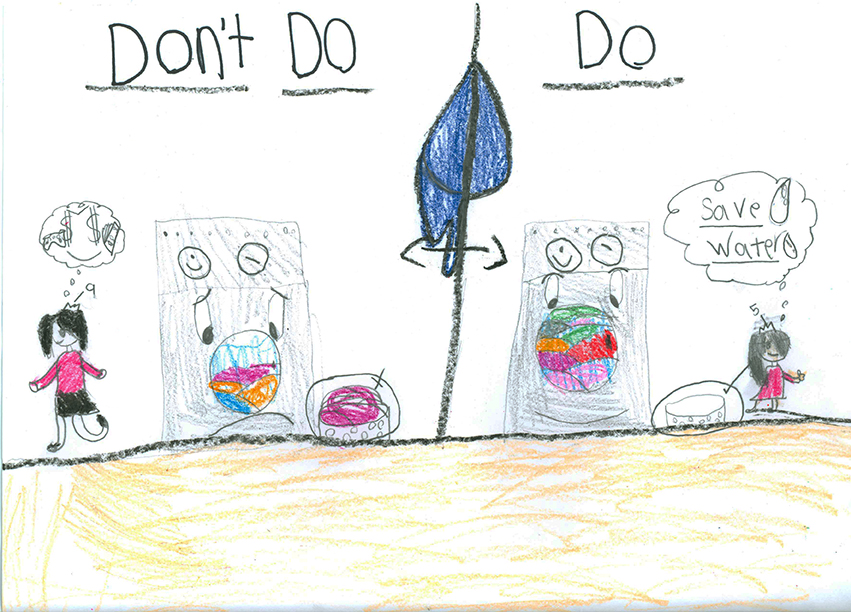 Child's Drawing - Turn the faucet off