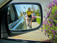 Cyclist in mirror